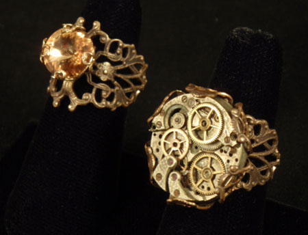 Image of  two steampunk rings