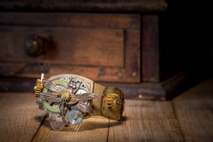 Image of a steampunk ring with watch parts and dragonfly by Jennifer Campbell