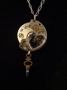 Steampunk necklace heart Jennifer Campbell