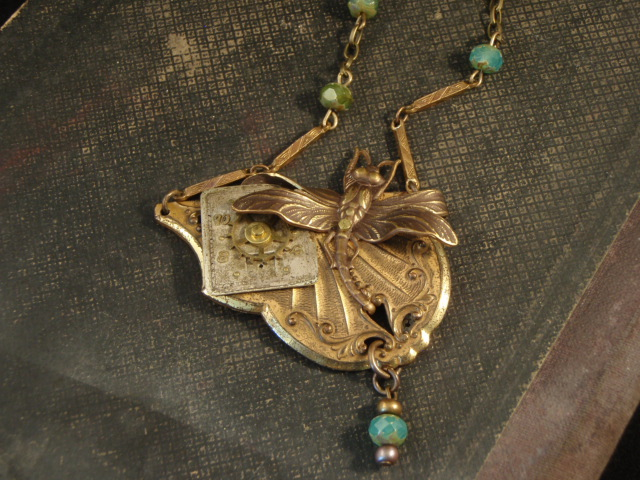 Image of Dragonfly Art Deco Necklace by Jennifer Campbell