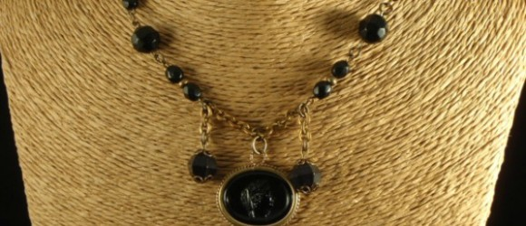 Vintage Found Object Black Cameo Necklace