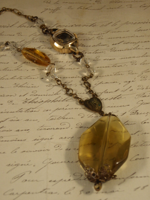 Image of Vintage Treasure Necklace Chandelier with amber and crystal beads by Jennifer Campbell
