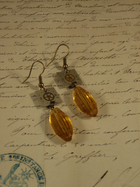 Image of Vintage Treasure Earrings Crystalized Time with amber beads and watch parts by Jennifer Campbell