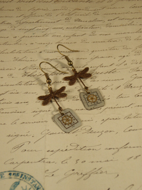 Image of Dragonfly Vintage Treasures Earrings with gear, watch faces and dragonflies by Jennifer Campbell
