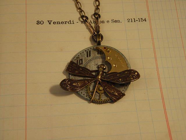 Image of Art Deco Dragonfly Time Necklace by Jennifer Campbell