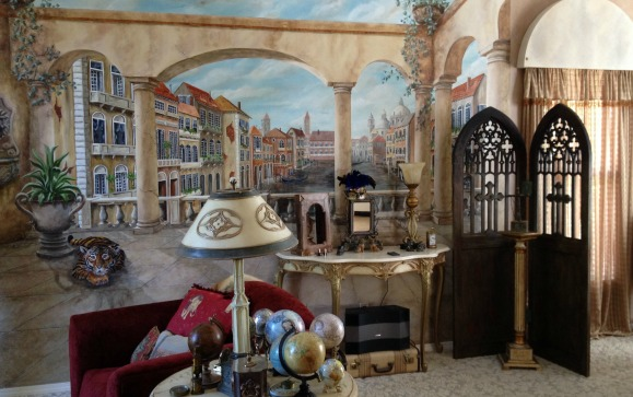 Gothic Door Room Divider and Venice Italy Mural by Jennifer Campbell