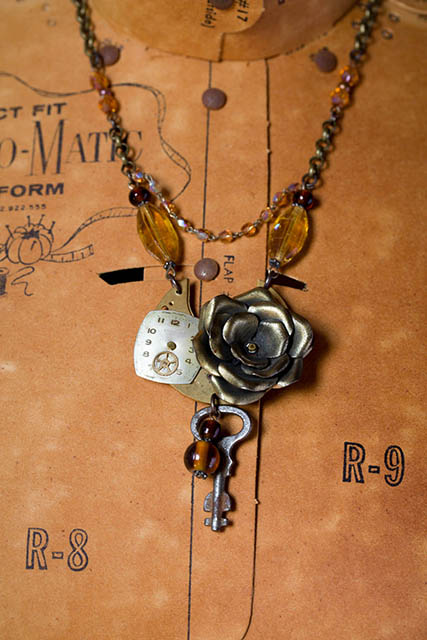 Rose Watcher ARt Deco Necklace New 2 by Jennifer Campbell