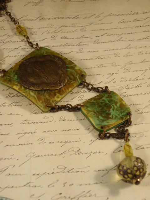 Image of Vintage Treasure Necklace Swirls of the Forest by Jennifer Campbell Design Portland OR