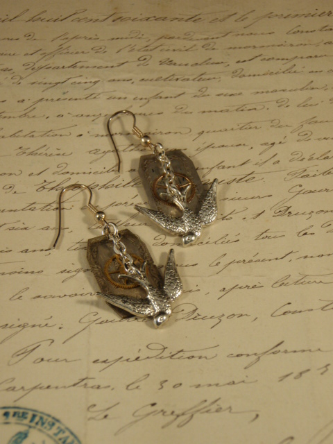 Image of Vintage Treasure Earrings Time Flies with swallows and watch parts by Jennifer Campbell