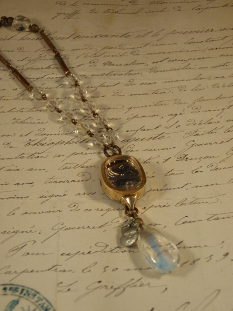 Image of Vintage Treasure Necklace Watching Time Go By - Jennifer Campbell Portland OR